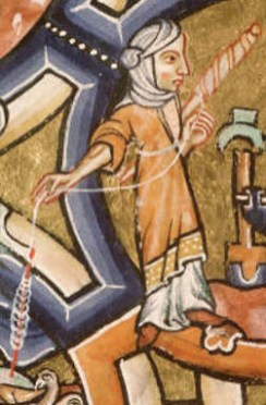 Woman spinning in a loose overdress over a white cote, that does not seem to have long sleeves. She wears a tied head scarf. c. 1185 - 1195