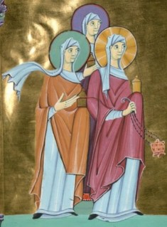 Two women wearing cotes and mantles and wrapped veils, c. 1007-1012