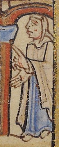 Woman wearing a mantle and veil over a long gown. c. 1155-1160
