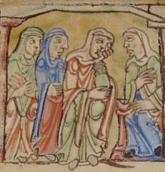 Woman talking wearing chapes or large head scarfs and long loose gowns. c. 1155-1160
