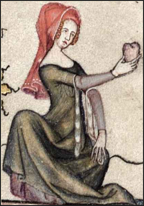 Woman wearing a red hood on her head and an overgown with vair-lined hanging sleeves or tippets. c. 1338–44