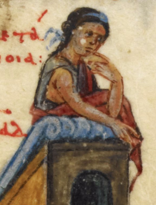 Woman with her hair in some sort of hair do down her back and a blue head band. Notice that her dress is a wrap around affair - much like the romans wore - possibly a stola. She is not wearing an under dress. 1000's
