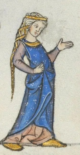 Lady wearing a indigo surcoat, late 1200's end of the 13th century France Lausanne, Bibliothèque Cantonale et Universitaire, U 964 - Biblia Porta fol.178r