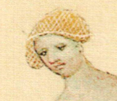 Woman wearing a crespine/hair net - she is in a bathing setting - either an attentens or on her way into a bath.