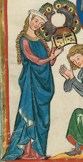 Intense blue cyclas over a rose cote, c. 1300 - 1340