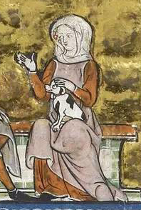 A lady wearing a rose cyclas over a red cote. Again the upper sleeve is loose while it is fitted from the albow down. c. 1315-1325