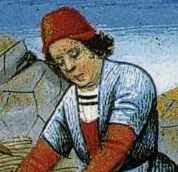 Man harvesting wearing a smart red hat with turned up edges.