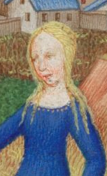A young woman with her hair bare. There were a few of them in the Bedford Hours, c. 1410-1430