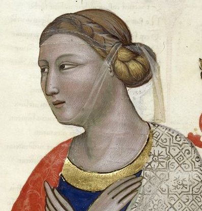 Lady with braided and pinned hair under a see though wail. Royal 6.E.ix, f. 13. detail ca. 1335-1340 Italy (Tuscany) British Library Royal 6 E IX: Regia Carmina (Address in verse to Robert of Anjou, King of Naples, from the town of Prato in Tuscany) fol. 13r - personification of Florence
