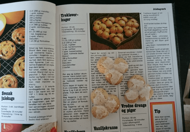 The original recipe from the 1980's cookbook. The smaller size of the finished cakes means that I dropped the date decorations as it became to fiddly to work with.