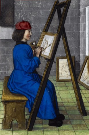 The painter is wearing a belted blue robe and a little red cap. His hair is shoulder length. Detail of a miniature the painter Zeuxis painting nude models, Harley MS 4425, f. 142r