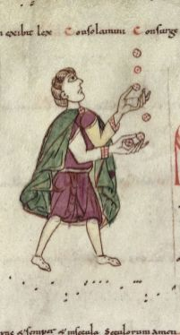 A juggler from a tonary. Properly at a noble's court rather than in the street. From (Brit. Lib. Harley 4951, fol. 298v), late 11th century. 2014-08-16.