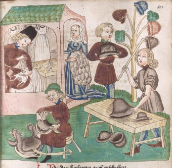 A man making shifts. A man making hats. One making belt pouches. A man looking at a hat. They look to be felt hats. From Schachzabelbuch--Cod.poet.et.phil.fol.2. Konrad van Ammenhausen; Hagenau; 1467; 203r.