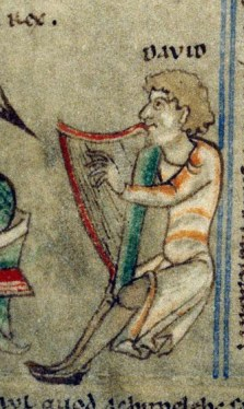 Musician playing the harp Dijon, 0014 ms, origin: Cistercian abbey, 1009-1111