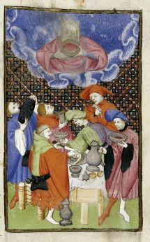 """Bacchus and his followers, c. 1413, Harley 4431, aka """"The Book of the Queen"""", Christine de Pizan, British Library, c. 1413."""