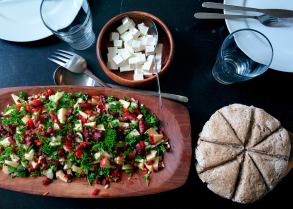 Pearl barley, apples, parsley, bell pepper and bacon topping, with feta on the side and a damper bread.