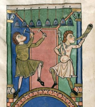 Musicians playing bells and a horn. German, 12th century. British Library.