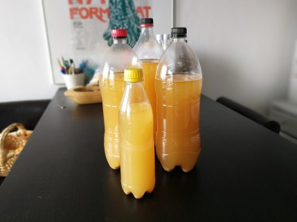 The finished brew, waiting to carbonate on the counter. The handy thing about plastic bottles is that you can feel when the carbonation is done by touching the bottle. If it is hard, then its done - simple as that.