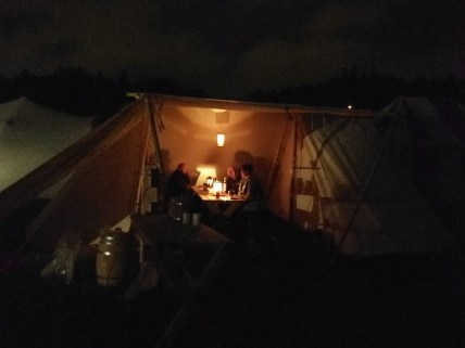 The first evening in camp