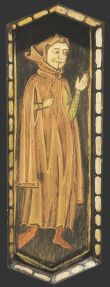 """Gardecorps (Surcotte) in this instance said to identify """"a man of letters"""" (like a doctor or lawyer), Teruel Cathedral (Spain). Image from the nave ceiling, late 13th century."""