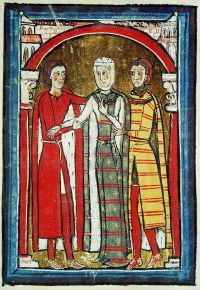Romanesque codex of the 1100: Liber Ceritanae: Queen and courtiers.