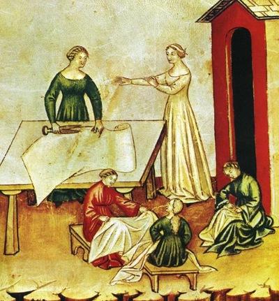 Women cutting fabric From tacuinum sanitatis