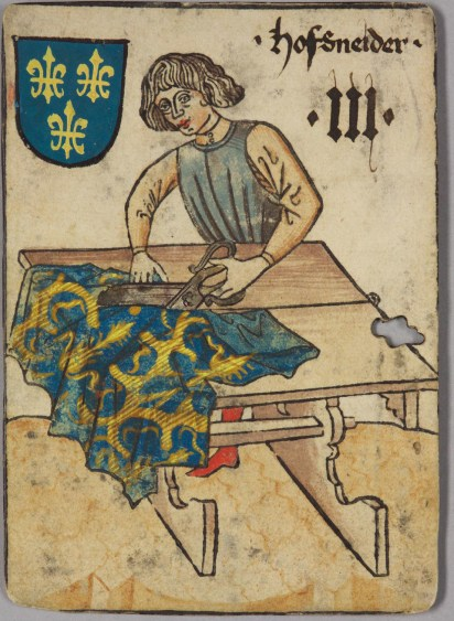 Playing card with a Tailor, 1455. Playing card, France, Hofschneider (Drei), from the so-called Hofämterspiel