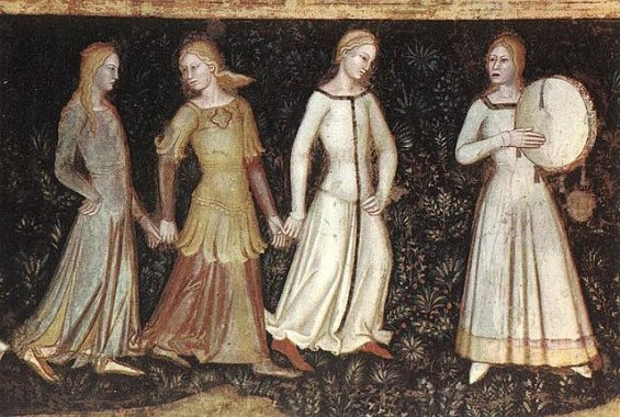 Young women dancing and playing music. Way Of Salvation - Andrea Di Bonaiuto, 1367 - fresco