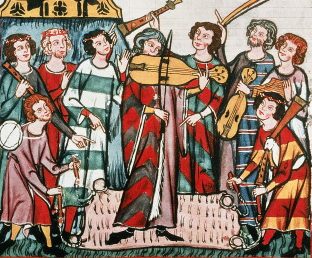 GERMANY - CIRCA 2002: Scene of court life with musicians playing viola, dulcimer, fife, drum and bagpipes, miniature from Manesse Code, manuscript, 1304, Germany. (Photo by DeAgostini/Getty Images)