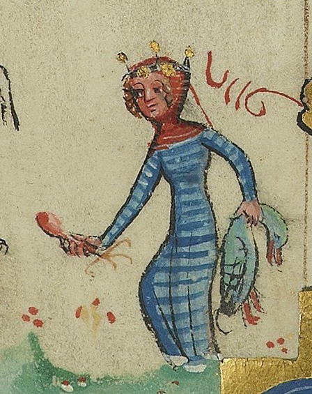Medieval woman in stripped dress, 1381