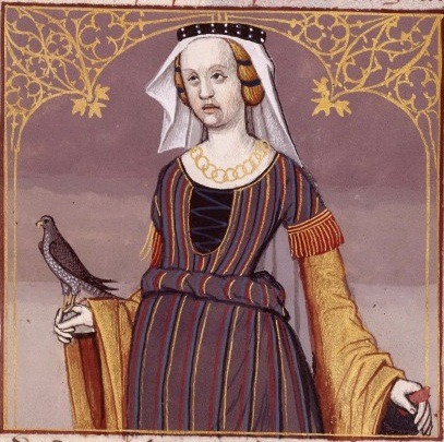 French lady in stripped dress with vail holding a falcon, late 1400's