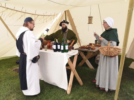 Our stall was well visited by other medieval people. Even the clergy was lured in