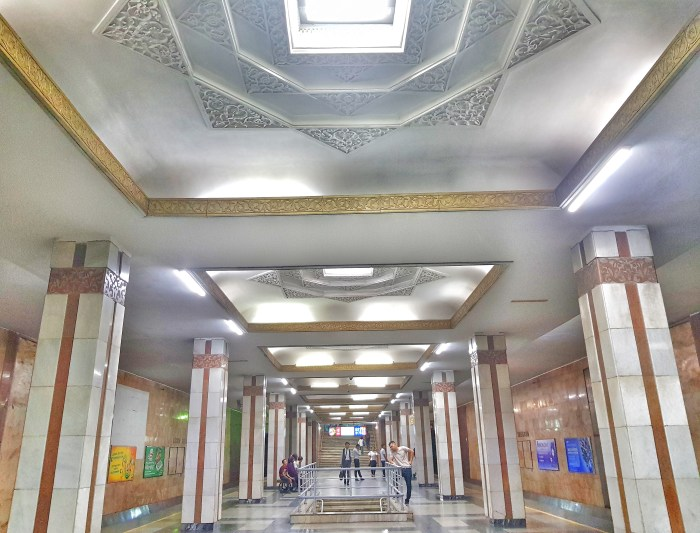 Amir Timur Hoyoboni metro station, Tashkent Photo by Freda Hughes