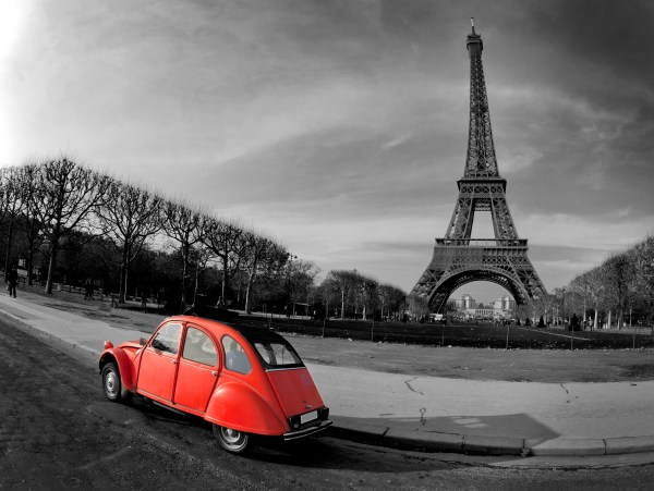 Eiffel Tower Black and White with Red Car