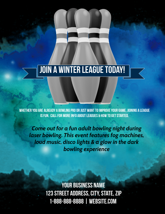 Winter Bowling League Template PosterMyWall