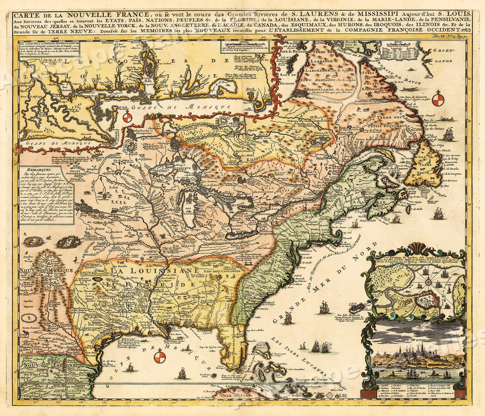 Map Of New France 1718 Vintage Style North America Map 20x24 Ebay