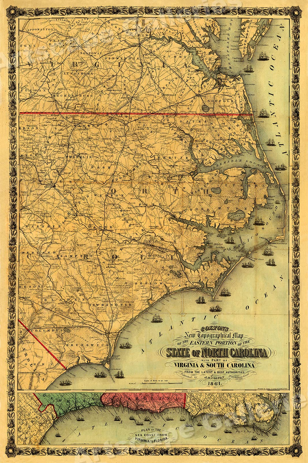Colton S Map Of The State Of North Carolina