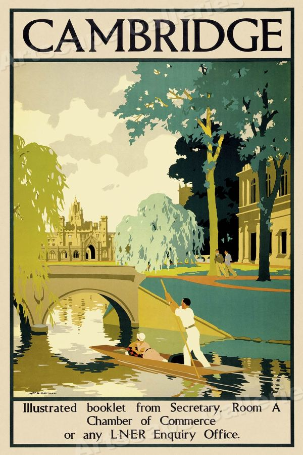 Cambridge - Vintage Style 1930s British Uk Travel Poster