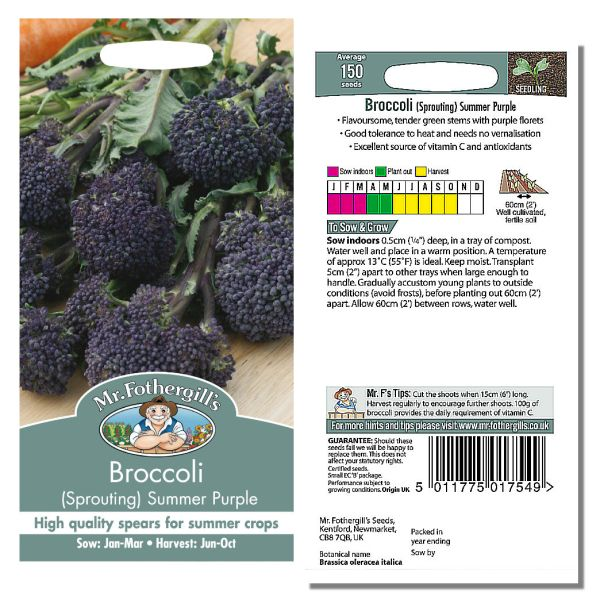 Mr. Fothergill's Seeds - Broccoli (Sprouting) Summer Purple