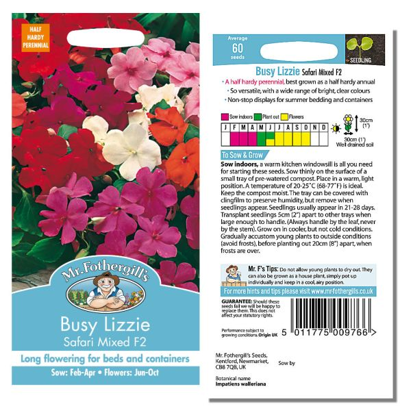 Mr. Fothergill's Seeds - Busy Lizzie - Safari Mixed F2