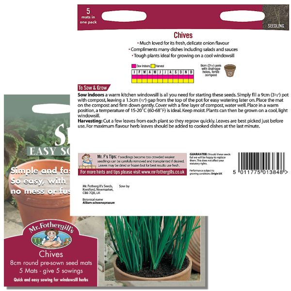 Mr. Fothergill's Seeds - Herb Garden - Chives Seed Mats