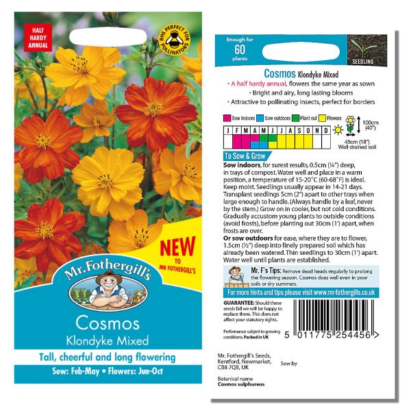 Mr. Fothergill's Seeds - Cosmos Klondyke Mixed