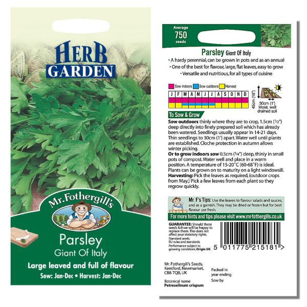 Mr. Fothergill's Seeds - Herb Garden - Parsley Giant of Italy