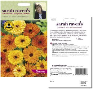 Sarah Raven's Calendula 'Touch of Red Mixed' Seeds by Johnsons