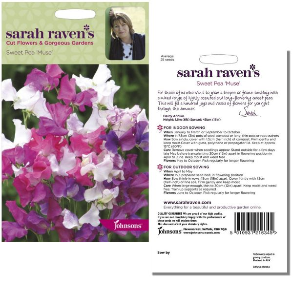 Sarah Raven's Sweet Pea 'Muse' Seeds by Johnsons
