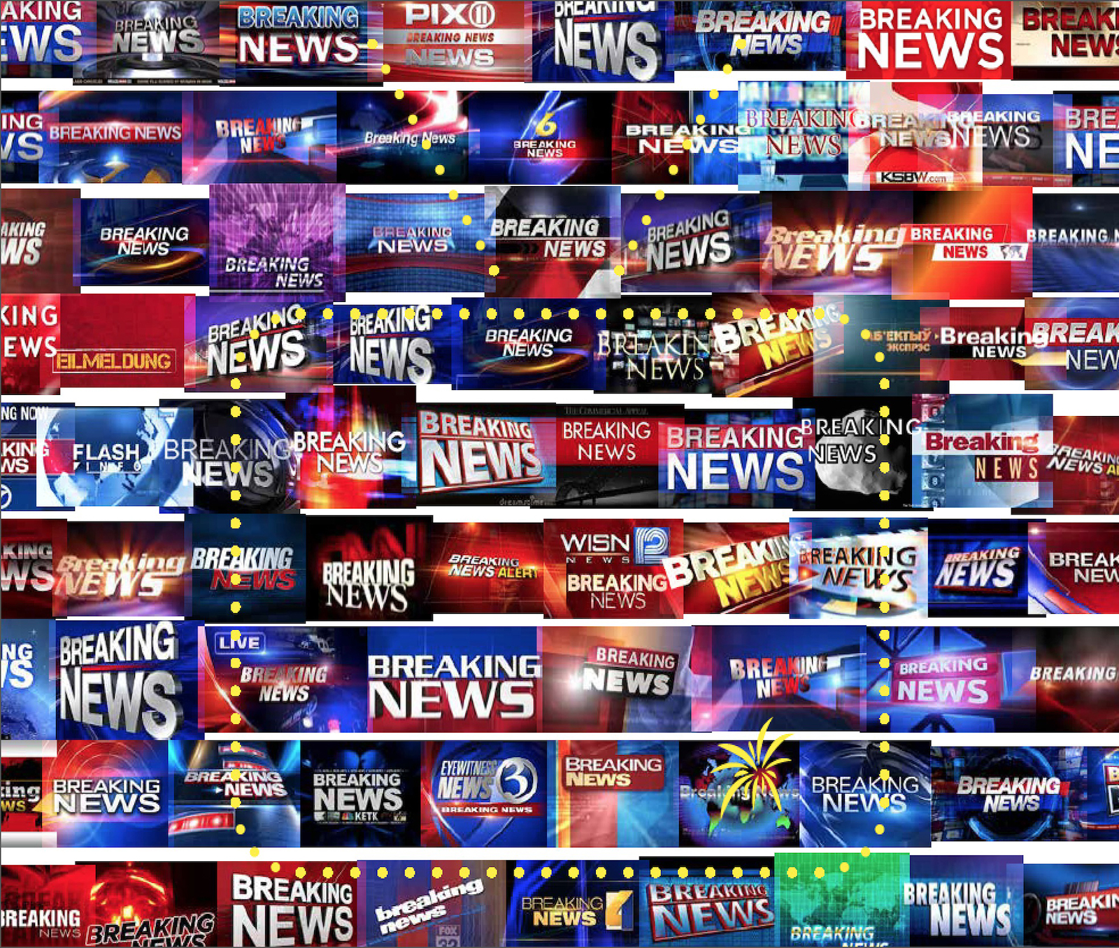 """A collage of different """"Break News"""" channel graphics."""