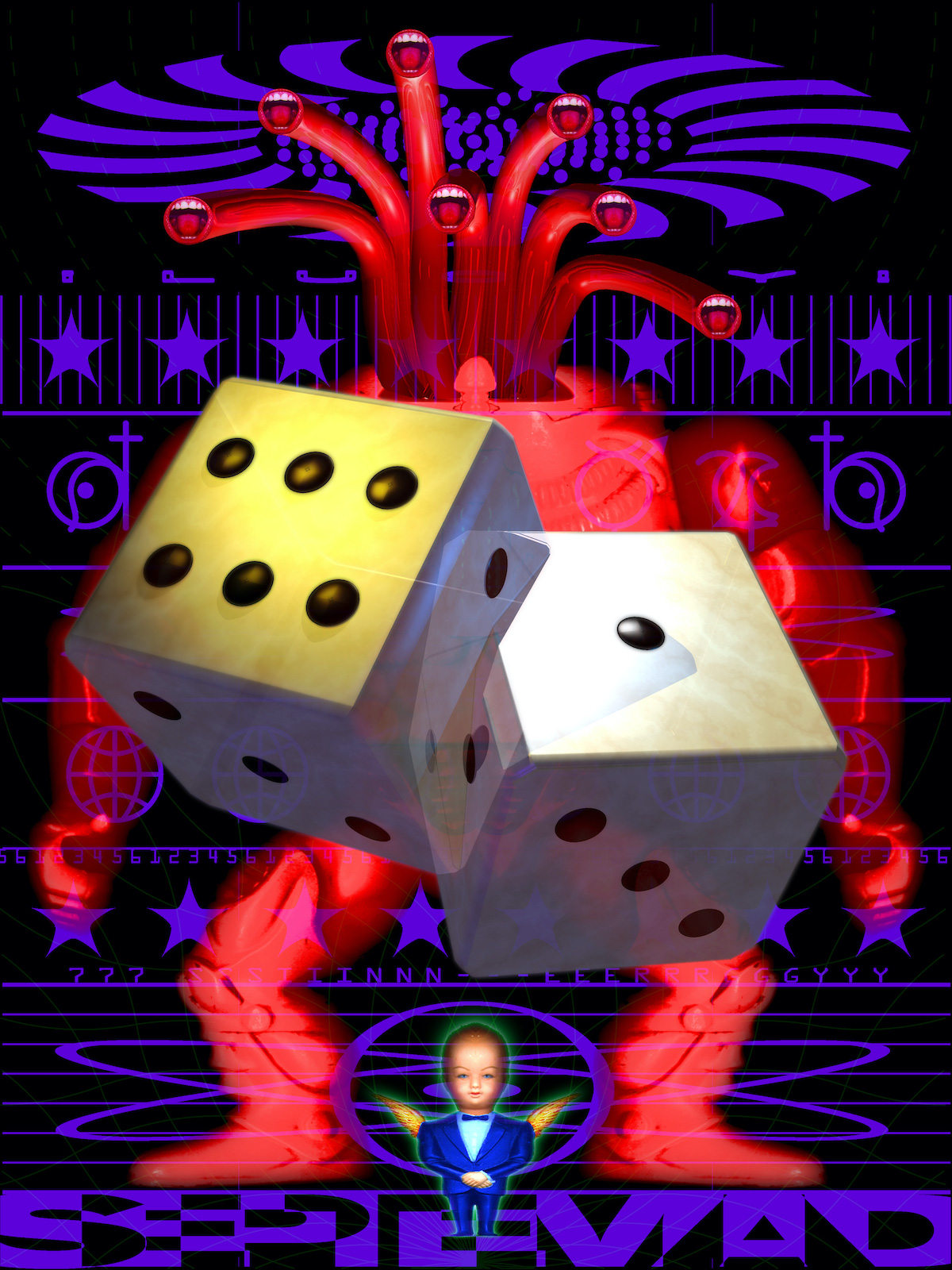 Two large dice float in front of a red figure with seven mouths. Below the figure is a baby in a suit with wings. All is set against a black and purple patterned background.