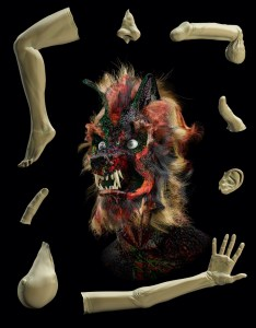 Colorful floating head of a wolfman surrounded by severed body parts against a black background.