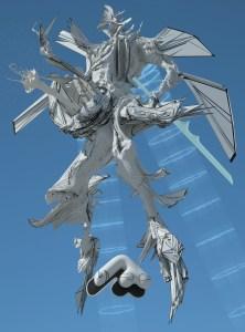 White futuristic figure floating in the sky.