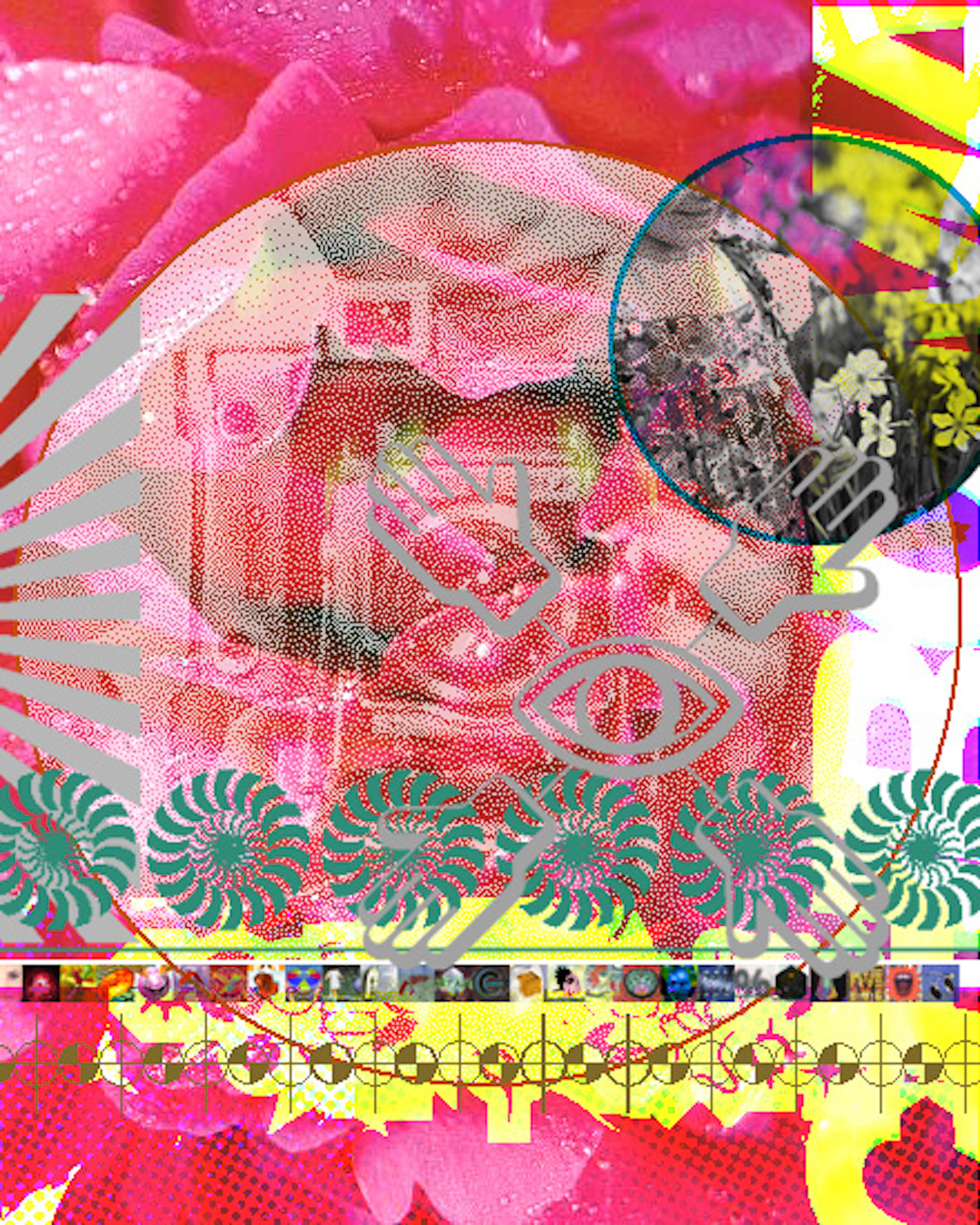 A woman holding a camera is overlaid bright pink roses, beside her is another image overlaid of a child holding a flower.